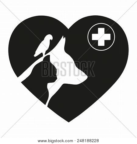Logo Design Template For Veterinary Clinic. Home Pets Logotype. Dog And Cat And Birds Concept For De