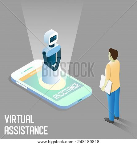 Virtual Assistance Vector Concept Illustration. Isometric Smartphone With Robot Virtual Assistant Or