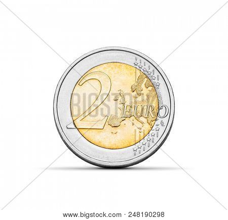 Two euro coin on white background, finance currency symbol -Clipping path