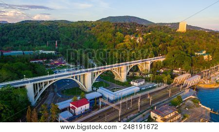 Sochi, Russia - April 27, 2018: Drone View Of The Matsesta Viaduct On The Background Of The Dense Fo