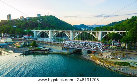 Sochi, Russia - April 27, 2018: Drone View Of The Matsesta Viaduct And Railway Bridge On The Backgro