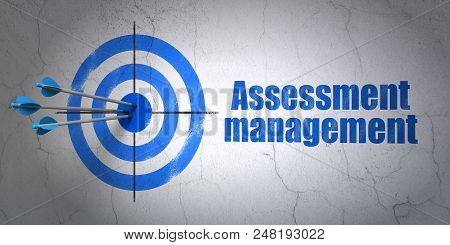 Success Finance Concept: Arrows Hitting The Center Of Target, Blue Assessment Management On Wall Bac