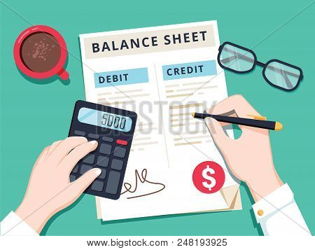 Accountant With Report And A Calculator Checks Money Balance. Financial Reports Statement And Docume