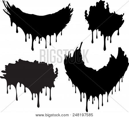 Set Of 4 Black Decors With Paint Drips. Vector Illustration For Your Design.