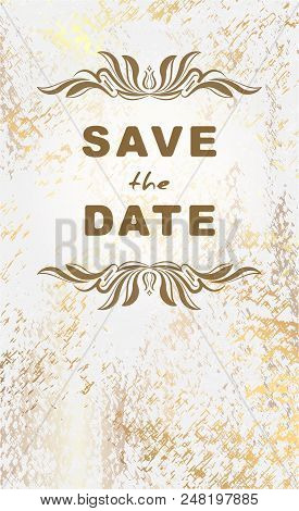 Vintage Postcard Save The Date Grunge, Aged Marble Background With Golden Patina For Wedding Invitat