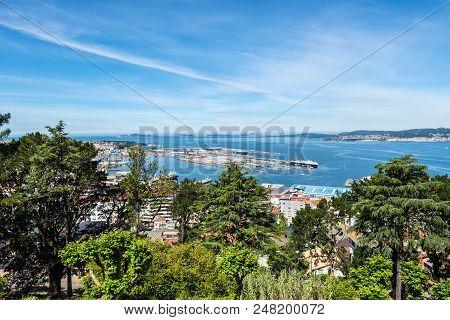 Vigo, Spain - May 20, 2017: The Beautiful City Of Vigo. View From The Park Near Ruins Of Castle Of V