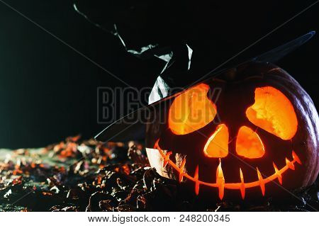 Halloween Pumpkins At Wood Background For Hallowen Pumpkin Party 2018.