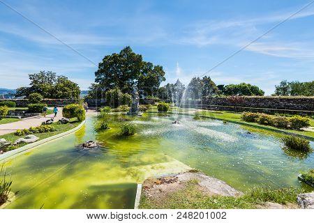 Vigo, Spain - May 20, 2017: Little Pool In The Castro Mount Park (parque Monte Del Castro) In Vigo,
