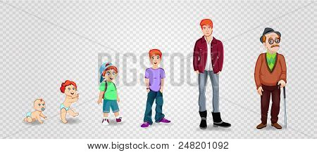 Character Man In Different Ages. Baby, Child, Teenager, Adult, Elderly Person. The Life Cycle. Gener