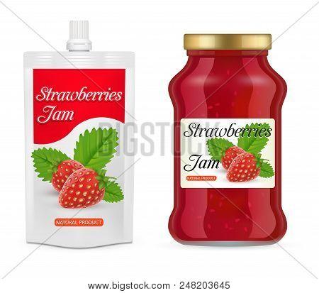 Strawberry Jam Packaging Mockup Set. Vector Realistic Illustration Of Glass Jar And Doypack Plastic