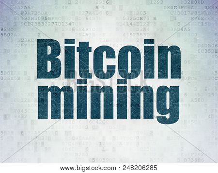 Cryptocurrency Concept: Painted Blue Word Bitcoin Mining On Digital Data Paper Background