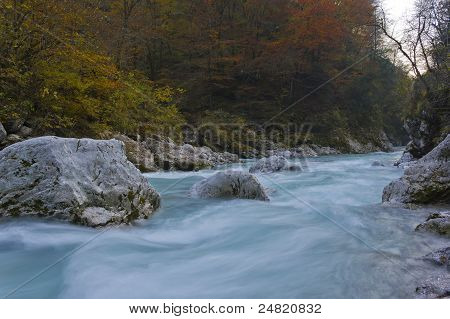 River Stream In Autumn