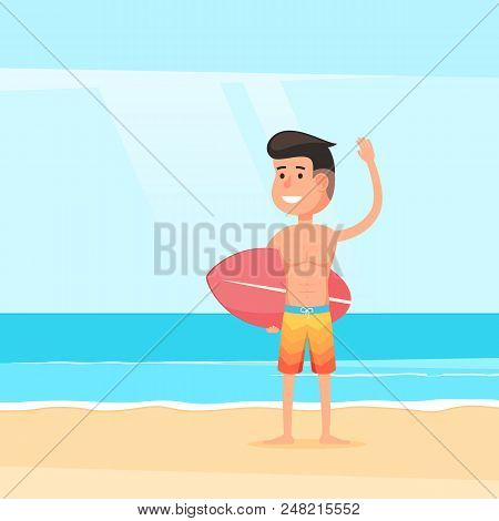 Friendly Surfer On Sandy Beach. A Man With A Surfboard On The Background Of The Ocean Surf. Sea Land