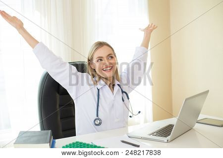 Portrait Of Female Doctor Working With Relax Emotion. People With Healthcare And Medical Concept.