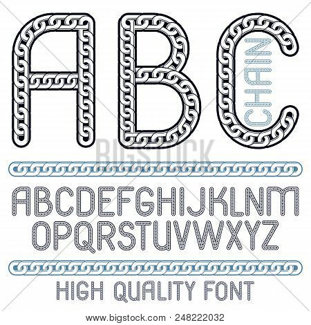 Vector Type Font, Script From A To Z. Capital Creative Letters, Abc Made With Iron Chain, Linked Con