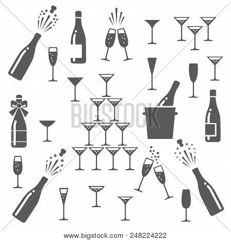 Champagne Icons. Cheering Opening Popping Bottles And Glasses Of Champagne, Cheers And Cheerful Sign