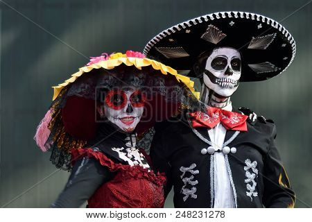 Moscow, Russia - June 29, 2018: Participants In Traditional Clothing During Dia De Los Muertos Mexic
