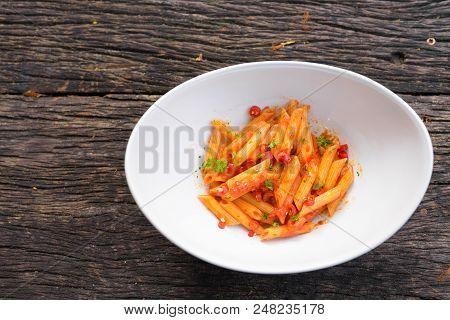 Penne Pasta With Arrabiata Sauce Horizontal Shot