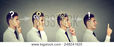Emotional Intelligence. Side View Sequence Of A Young Business Man Thinking, Finding Solution To A P