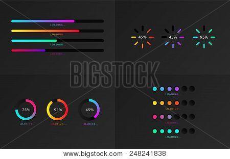 Set Of Indicators. Progress Loading Bar. Download Progress, Web Design Template, Interface Upload. V
