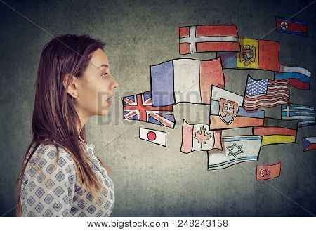 Side Profile Of A Young Student Woman Learning Different Languages