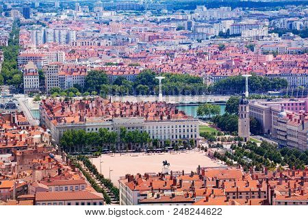 Top View Of The Bellecour Square And The Place Poncet, Lyon, France
