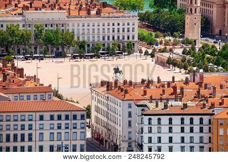 Aerial View Of Place Bellecour With Statue Of Louis Xiv, Lyon, France
