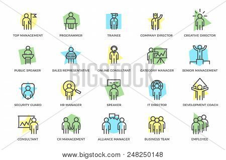 Set Of Vector Human Resources And Business Organization Management Colored Line Icons With Titles. T