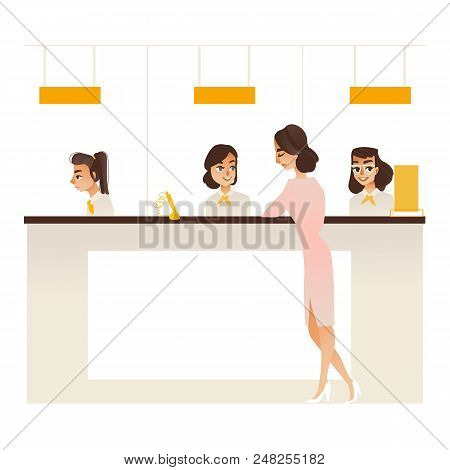 Banking Service Office Concept With Young Girl Client Communicating With Bank Managers At Reception.