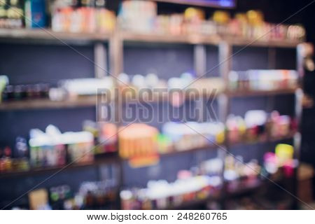 Electronic Cigarette Device Vape Shop Blurred Background