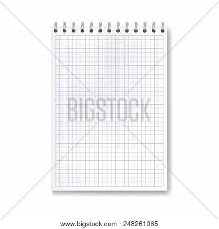 Realistic Vector Vertical Math Ruled Notebook Template. Copybook With Blank Quad Paper On Metallic R
