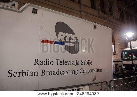 Belgrade, Serbia - June 28, 2018: Rts Logo On One Of Their Trucks. Rts, Or Radio Televizija Srbije O