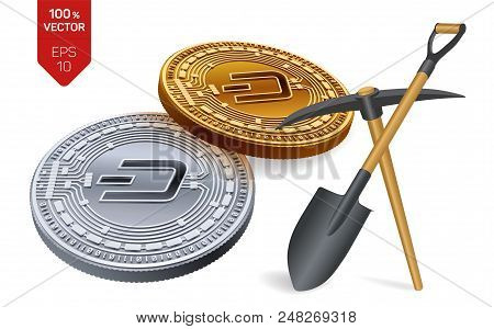 Dash Mining Concept. 3d Isometric Physical Bit Coin With Pickaxe And Shovel. Digital Currency. Crypt