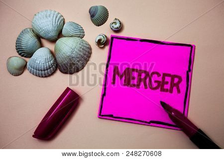 Text Sign Showing Merger. Conceptual Photo Combination Of Two Things Or Companies Fusion Coalition U