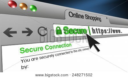 High Resolution 3d Illustration Of Ssl Secure Browser With Text Online Shopping Secure. Great Concep