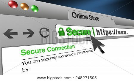 High Resolution 3d Illustration Of Ssl Secure Browser With Text Online Store Secure. Great Conceptua