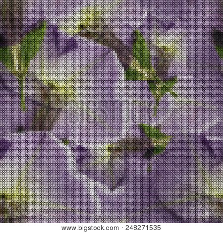 Illustration. Cross-stitch. Petunia. Texture Of Flowers. Seamless Pattern For Continuous Replicate.