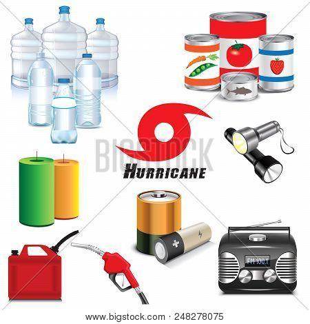 Vector Illustration Of Hurricane Preparation Icons & Supplies.
