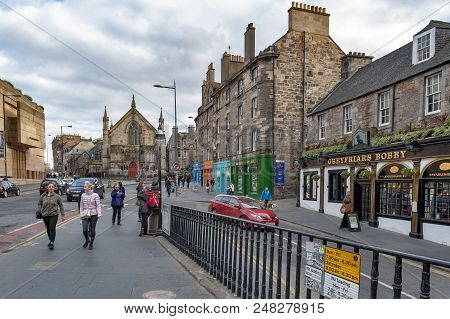 Edinburgh, Scotland - April 2018: View Of George Iv Bridge, Elevated Street With Historic Buildings