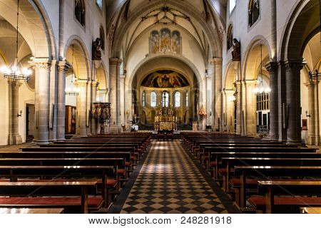 Wedding Arrangement Chairs Inside The Basilica Of St. Castor Is The Oldest Church In Koblenz In The