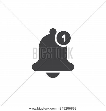 Notification Bell Vector Icon. Filled Flat Sign For Mobile Concept And Web Design. One New Notificat