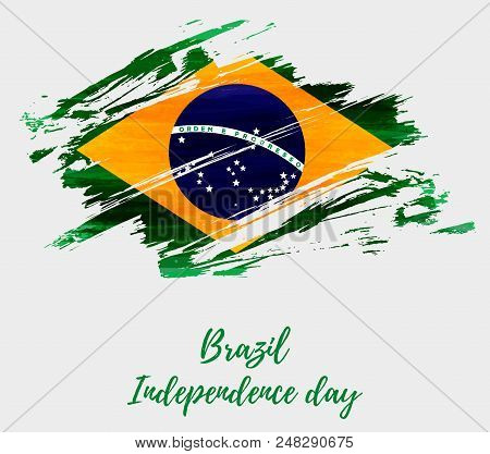 Brazil Independence Day Background. Abstract Grunge Brushed Watercolor Flag Of Brazil. National Holi