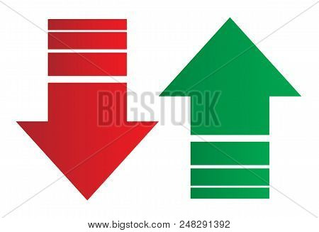 Simple Up And Down Arrows. Upward, Downward Arrows In Green And Red Isolated On White Background, Se