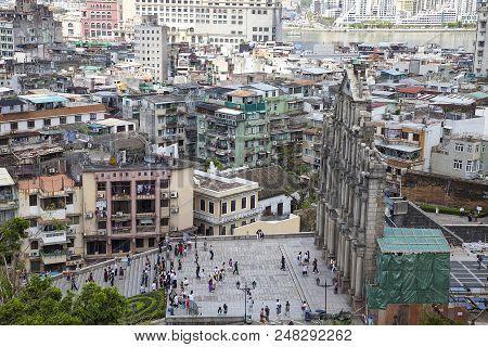 A Portuguese Ruin Of A Church In The Center Of Macau