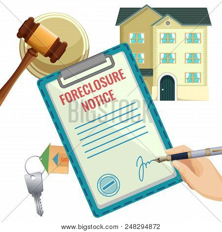 Foreclosure Process Selling Document With Sign, Isolated Vector House And Hammer Of Judge, Flat Key
