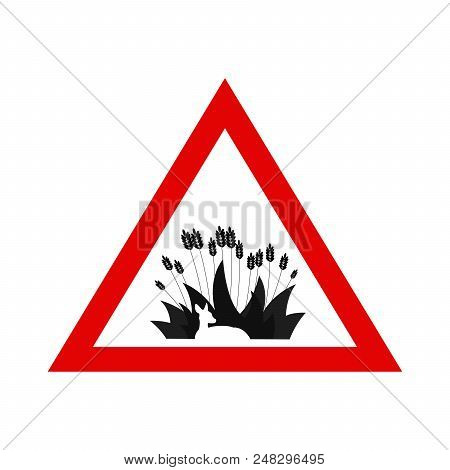 Animal Protection. Warning Sign With Deer Hidden In The Grass. Simple Vector Illustration. Deer Hidd