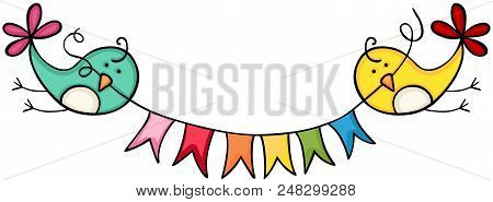 Scalable Vectorial Image Representing A Birds Holding Flag Banner, Illustration Isolated On White Ba