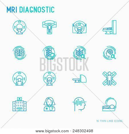 Mri Diagnostics Thin Line Icons Set. Modern Vector Illustration Of Laboratory Equipment.