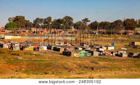 Johannesburg, South Africa, September 11, 2011, Low Income Informal Tin Shack Housing In Urban Sowet