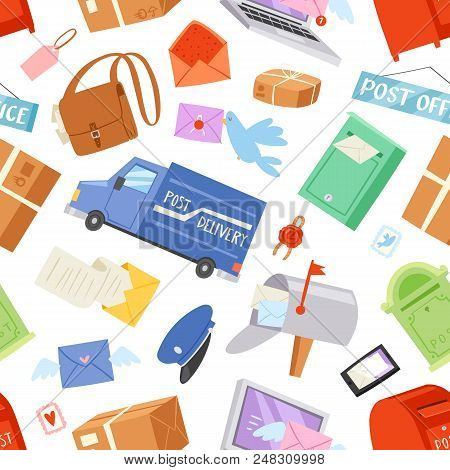 Postoffice vector postman delivers mails in postbox or mailbox and post character carries mailed letters in letterbox illustration set postal delivery service seamless pattern background. poster